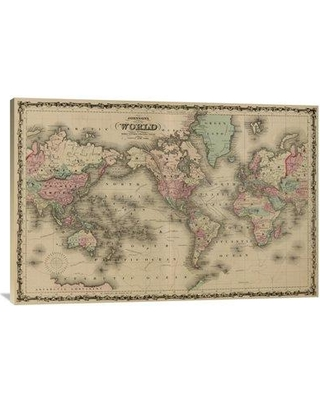 """East Urban Home World Map' Print on Canvas EABP7819 Size: 27"""" H x 40"""" W x 1.5"""" D"""