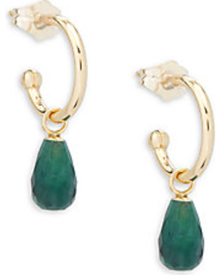 Emerald and 14K Gold Drop Earrings