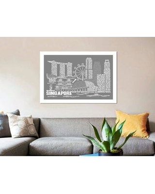 """East Urban Home 'Singapore' Graphic Art Print on Canvas in Slate ERBQ9934 Size: 26"""" H x 40"""" W x 1.5"""" D"""