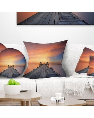"""East Urban Home Wooden Bridge Straight into the Sea Pillow VOIN7922 Size: 18"""" x 18"""" Product Type: Throw Pillow"""