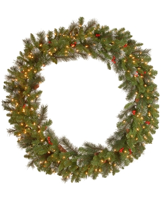 Pre-Lit Crestwood Spruce Artificial Christmas Wreath - 48-Inch, Clear Lights - Green