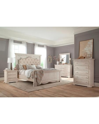 Avondale Collection AV405-K King Size Bed with Slats Included and EPA Certified in White