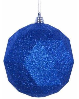"The Holiday Aisle Geometric Ball Ornament X113628824 Size: 6"" H x 6"" W x 6"" D Color: Blue Glitter"
