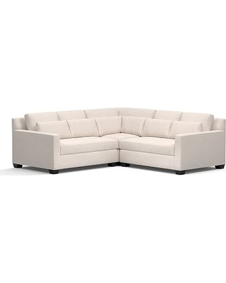 York Square Arm Upholstered Deep Seat 3-Piece L-Shaped Corner Sectional, Down Blend Wrapped Cushions, Performance Heathered Tweed Indigo