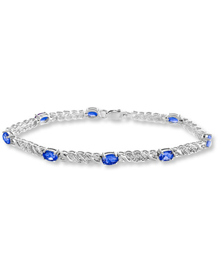 Lab-Created Sapphires Diamond Accents Sterling Silver Bracelet