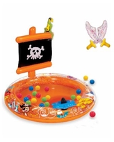 Banzai Pirate Sparkle Play Center Inflatable Ball Pit -Includes 20 Balls - Multi