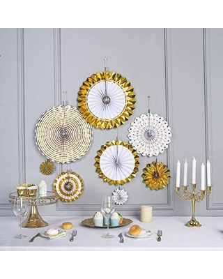 """Paper Fan Pinwheels Decoration - 4"""", 8"""", 12"""", 16""""   Gold & White   Pack of 8"""