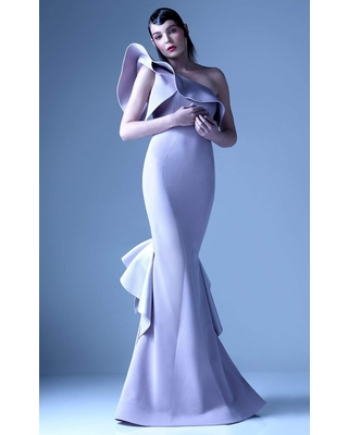 MNM COUTURE - G0960 Asymmetric One Shoulder Ruffle Trumpet Gown