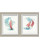 """Rosecliff Heights Beautiful Watercolor-Style 'Sailboat' Graphic Art Print Set ROHE8616 Format: White Framed Paper Size: 16"""" H x 13"""" W"""