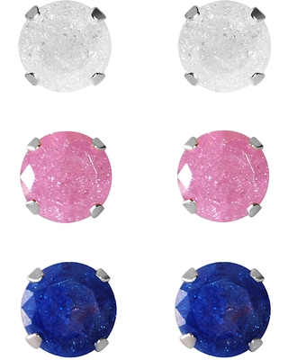 Set of 3-pair Sterling Silver 7-mm White/ Pink/ Bright Blue Ice Cubic Zirconia Stud Earrings