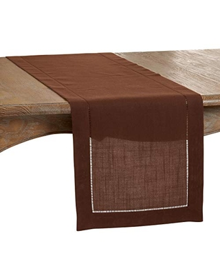 """SARO LIFESTYLE Rochester Collection Table Runner with Hemstitched Border, 16"""" x 90"""", Chocolate"""