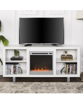 """Manor Park Modern Fireplace TV Stand for TVs up to 64"""", White"""