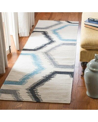 Ebern Designs Rodgers Handwoven Flatweave Wool Ivory/Gray Area Rug, Wool in Gray/Silver, Size Rectangle 3' x 5' | Wayfair DHU655A-3