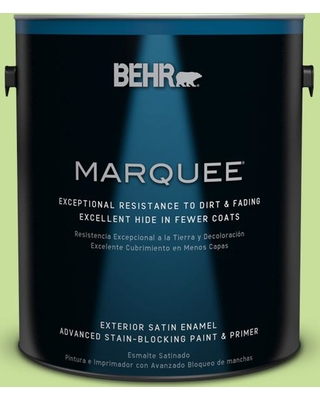 BEHR MARQUEE 1 gal. #420A-3 Key Lime Satin Enamel Exterior Paint and Primer in One
