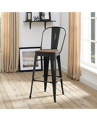 Modway Promenade Industrial Modern Steel Bistro Bar Stool with Bamboo Seat in Black, Side