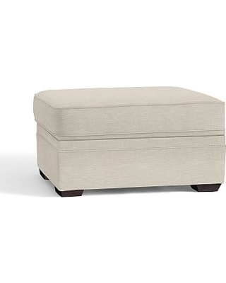 Pearce Upholstered Storage Ottoman, Polyester Wrapped Cushions, Textured Basketweave Flax