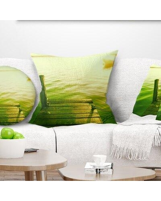 """East Urban Home Bridge Wooden Boardwalk in Sea Pillow VOIN2330 Size: 18"""" x 18"""" Product Type: Throw Pillow"""