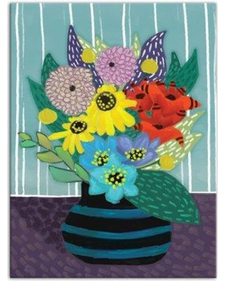 """Winston Porter 'Flowers in Striped Vase' Acrylic Painting Print on Canvas WNPR5958 Size: 16"""" H x 12"""" W Format: Wrapped Canvas"""