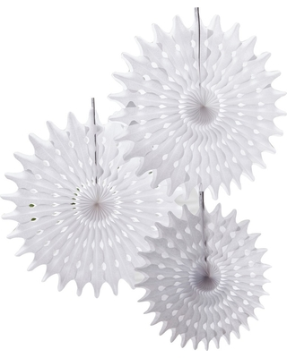 3ct Hanging Fan Decorations White