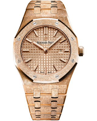 Audemars Piguet Royal Oak Frosted Pink Gold-toned Dial Ladies 18k Rose Gold Watch 67653OR.GG.1263OR.02