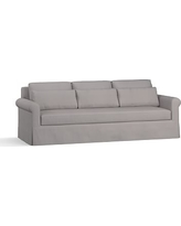 """York Roll Arm Slipcovered Deep Seat Grand Sofa 98"""" with Bench Cushion, Down Blend Wrapped Cushions, Performance Twill Metal Gray"""