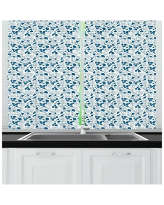 Flower Modern Floral Blossomed Outline Roses with Leaves on Polka Dots Kitchen Curtain East Urban Home
