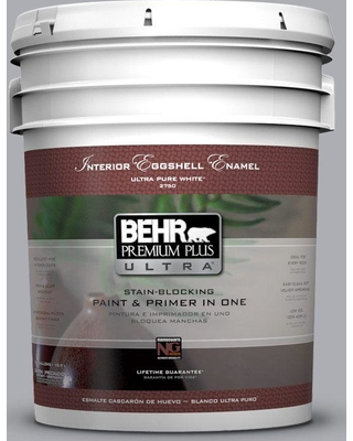 BEHR Premium Plus Ultra 5 gal. #760E-3 Gray Timber Wolf Eggshell Enamel Interior Paint and Primer in One