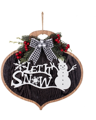14in Let it Snow Wood Ornament Wall Hanging Decorative Holiday Scene Props - Haute Décor