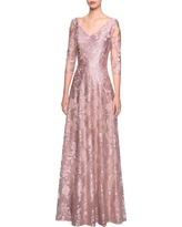 La Femme Floral Embroidered A-Line Gown, Size 16 in Mauve at Nordstrom