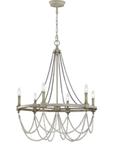 Feiss Beverly 28 in. W. 6-Light French Washed Oak / Distressed White Wood Chandelier