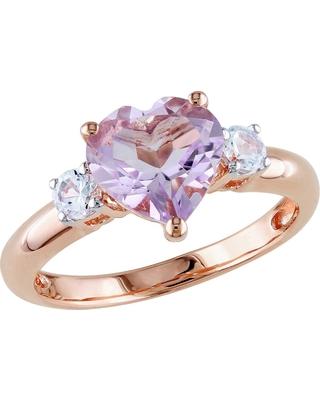 1.65 CT. T.W. Rose de France and .3 CT. T.W. White Sapphire Ring in Pink Rhodium Plated Silver - 8 - Purple, Women's