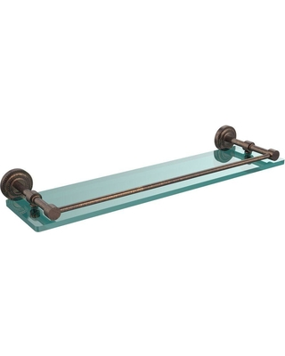 Allied Brass Dottingham 22 in. L x 3 in. H x 5 in. W Clear Glass Bathroom Shelf with Gallery Rail in Venetian Bronze