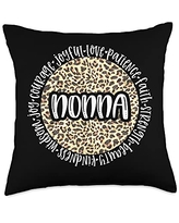Leopard Cheetah Mom and Grandmother NONNA Cheetah Leopard Print Circle Love Patience Black Throw Pillow, 18x18, Multicolor