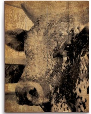 """Click Wall Art Cow Graphic Art on Plaque GRU0000164PLK Size: 12"""" H x 9"""" W x 1"""" D"""