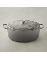 Le Creuset Signature Cast-Iron Oval French Oven, 9 1/2-Qt., French Grey