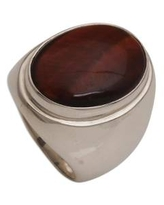 Tiger's Eye Single Stone Ring with a Tapered Band from Bali