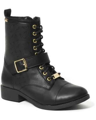 Bebe Women's Ofeibea Logo Ankle Boots, Size 11 in Black Synthetic