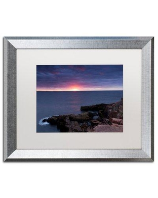 """Trademark Fine Art 'Stormy Sunup' Framed Graphic Art on Canvas ALI3902-S1 Size: 16"""" H x 20"""" W x 0.5"""" D Matte Color: White"""
