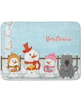 The Holiday Aisle Merry Christmas Carolers Chow Chow Memory Foam Bath Rug THLA5158 Color: Blue