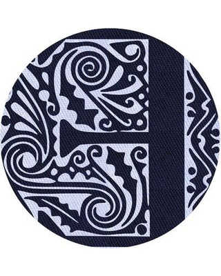 East Urban Home Abstract Wool Blue Area Rug X113647672 Rug Size: Round 5'