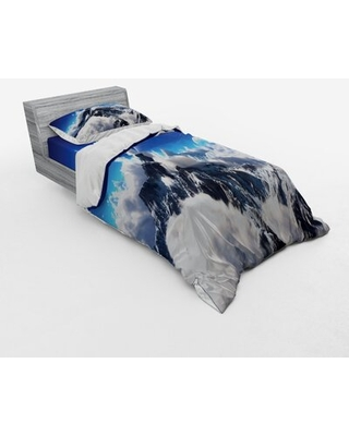 Celestial View of Snow Capped Mountains and Alien Planet Print Duvet Cover Set East Urban Home Size: Twin XL Duvet Cover + 2 Additional Pieces