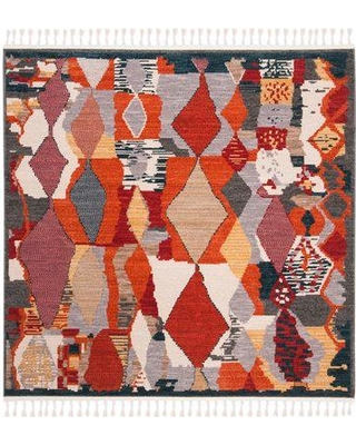 World Menagerie Boothby Orange/Beige Area Rug W001401663 Rug Size: Square 6'3""