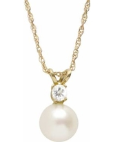 PearLustre by Imperial Freshwater Cultured Pearl and White Topaz 10k Gold Pendant Necklace, Women's