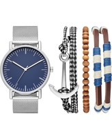 Men's Nautical Mesh Strap Watch Set - Goodfellow & Co Silver
