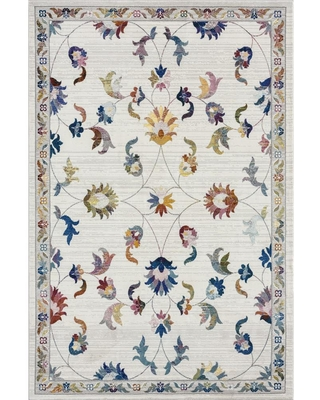 LR Home Gala Ivory / Multi-color 7 ft. 6 in. x 9 ft. 6 in. Lucca Jacobean Traditional Polypropylene Area Rug