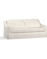 "York Slope Arm Slipcovered Deep Seat Sofa 80"" with Bench Cushion, Down Blend Wrapped Cushions, Denim Warm White"