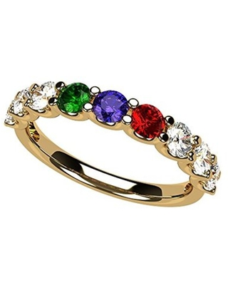 NANA U'r Family Ring 1 to 9 Simulated Birthstones - 10k Yellow Gold - Size 10 Stone 4