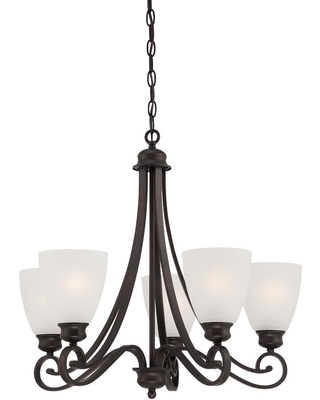 Thomas Lighting Haven 5-Light Espresso Chandelier With Etched Glass Shades
