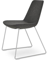 sohoConcept Eiffel Handle Back Polyester Upholstered Dining Chair in Dark Gray Camira Wool DC109 Leg Color: Stainless Steel Polished