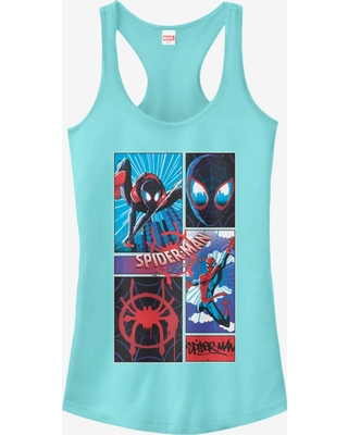 Marvel Spider-Man: Into The Spider-Verse Comic Spiders Cancun Blue Girls Tank Top